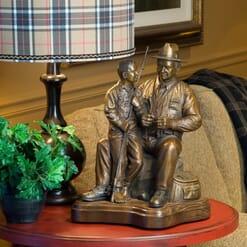 Grandfather and Grandson Bronze Sculpture-3