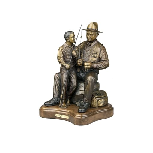 Grandfather and Grandson Bronze Sculpture-4