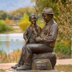 Grandfather and Grandson Bronze Sculpture