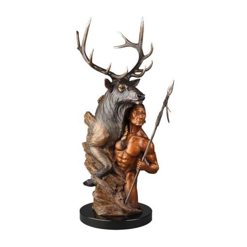 Man and Elk Bronze Sculpture-1