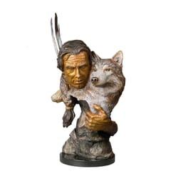 Man and Wolf Bronze Sculpture