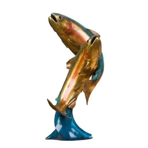 National Geographic - Bronze Rainbow Trout Pair Sculpture
