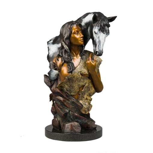 Woman and Horse Bronze Sculpture